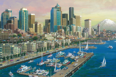 "Seattle Water Front Evening 8.7"" x 13.5"" 2012"
